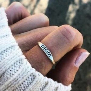 Mom Silver Dainty Ring